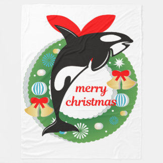 merry christmas killer whale blanket