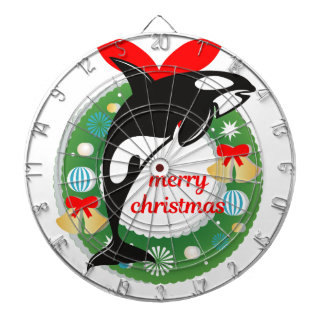 merry christmas killer whale dartboard