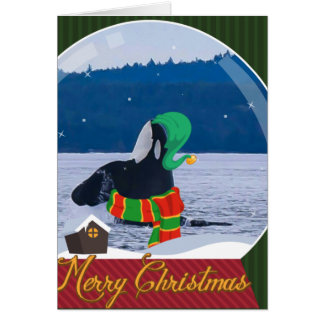 Merry Christmas Killer Whale Elf greeting card
