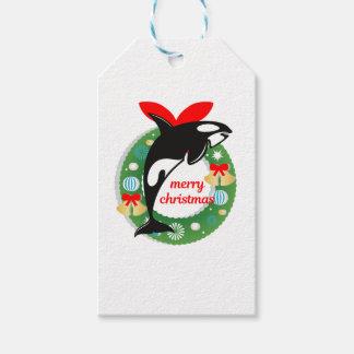 merry christmas killer whale gift tags