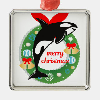 merry christmas killer whale metal ornament