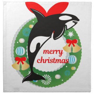 merry christmas killer whale napkin