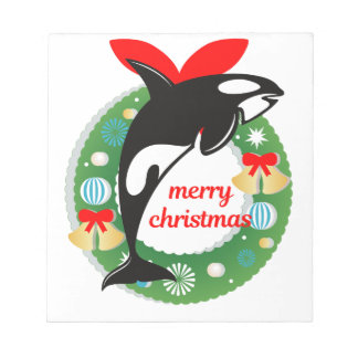 merry christmas killer whale notepad