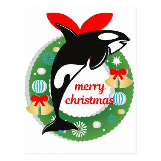 merry christmas killer whale postcard