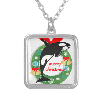 merry christmas killer whale silver plated necklace