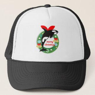 merry christmas killer whale trucker hat