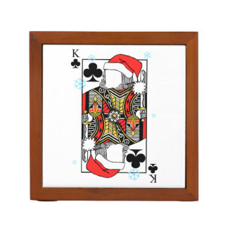 Merry Christmas King of Clubs - Add Your Images Desk Organizer