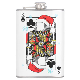 Merry Christmas King of Clubs - Add Your Images Hip Flask
