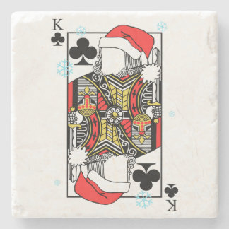 Merry Christmas King of Clubs - Add Your Images Stone Coaster
