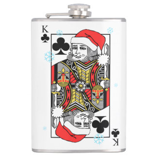 Merry Christmas King of Clubs Hip Flask