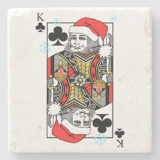 Merry Christmas King of Clubs Stone Coaster