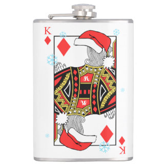 Merry Christmas King of Diamonds - Add Your Images Hip Flask