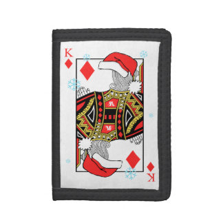 Merry Christmas King of Diamonds - Add Your Images Tri-fold Wallets