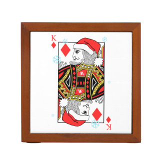 Merry Christmas King of Diamonds Desk Organizer