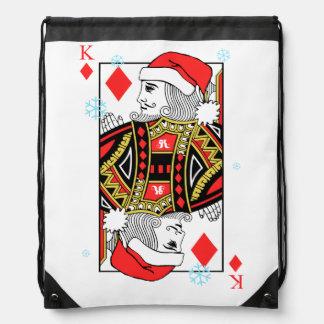 Merry Christmas King of Diamonds Drawstring Bag