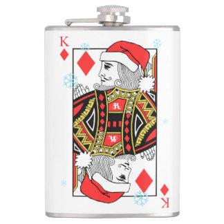 Merry Christmas King of Diamonds Hip Flask