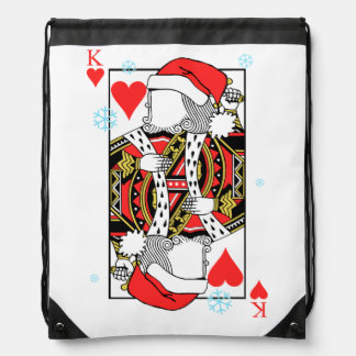 Merry Christmas King of Hearts - Add Your Images Drawstring Bag