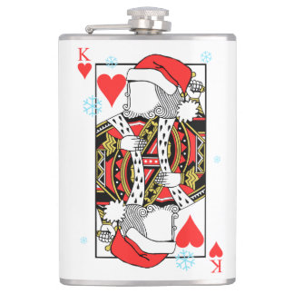 Merry Christmas King of Hearts - Add Your Images Hip Flask