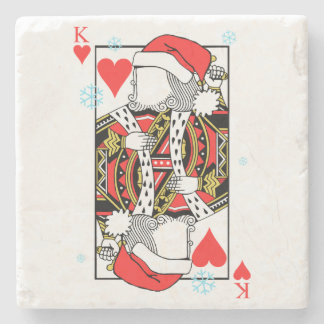 Merry Christmas King of Hearts - Add Your Images Stone Coaster
