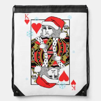 Merry Christmas King of Hearts Drawstring Bag