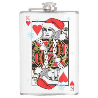 Merry Christmas King of Hearts Hip Flask
