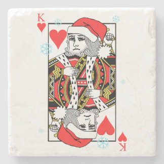 Merry Christmas King of Hearts Stone Coaster