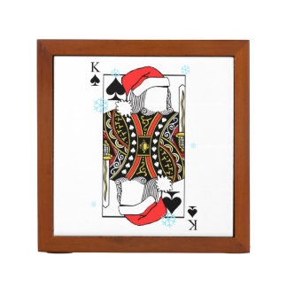 Merry Christmas King of Spades - Add Your Images Desk Organizer