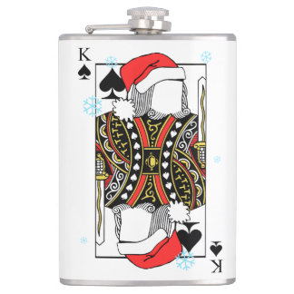 Merry Christmas King of Spades - Add Your Images Hip Flask
