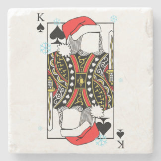 Merry Christmas King of Spades - Add Your Images Stone Coaster