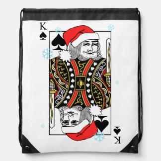 Merry Christmas King of Spades Drawstring Bag