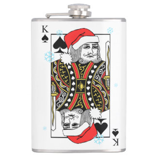 Merry Christmas King of Spades Hip Flask