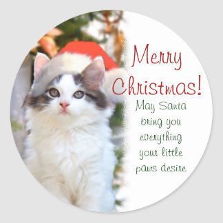 Merry Christmas Kitten Stickers w/verse