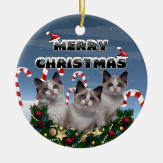 Merry Christmas Kittens in Candy Cane Land Round Ceramic Ornament