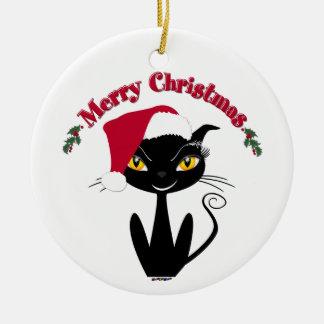 Merry Christmas Kitty Cat Ceramic Ornament