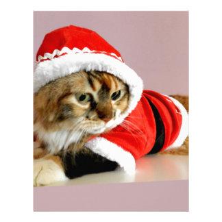 Merry Christmas kitty cat Santa suit Letterhead Template