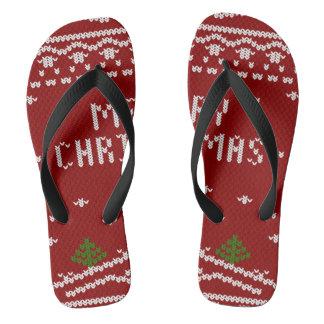 merry Christmas,knitting,pattern,green,red,cozy,tr Flip Flops