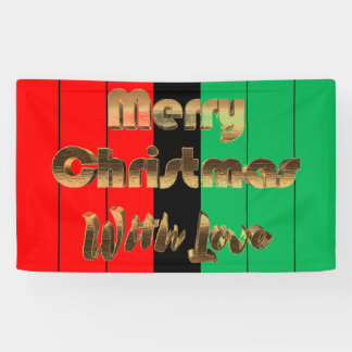 Merry Christmas Kwanzaa Striped Pattern Gold Text Banner
