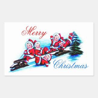 Merry Christmas Label - Elves Sledding in Snow