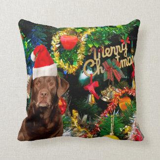 Merry Christmas Labrador Retriever Dog Santa Hat Throw Pillow