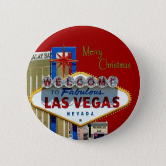 Merry Christmas Las Vegas Magnet 2 Inch Round Button