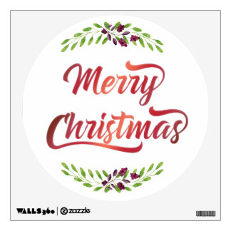 Merry Christmas Laurels Red ID293 Wall Decal