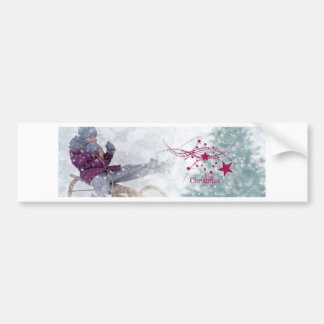 Merry Christmas letter snowing Bumper Sticker