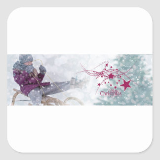 Merry Christmas letter snowing Square Sticker