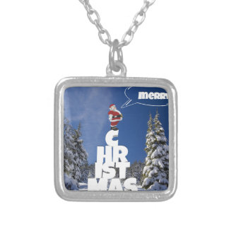Merry christmas letters favor Santa Silver Plated Necklace