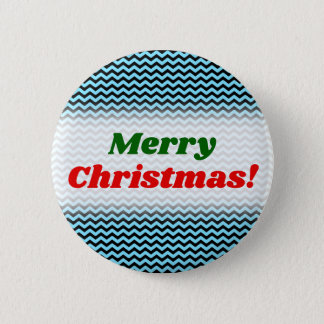 Merry Christmas! + Light Blue & Black Wave Pattern 2 Inch Round Button