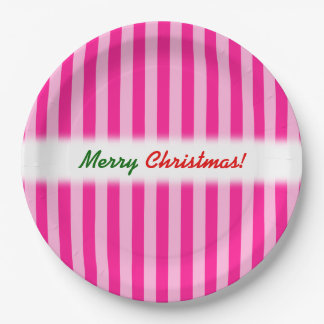 """Merry Christmas!""; Light Pink & Deep Pink Stripes Paper Plate"