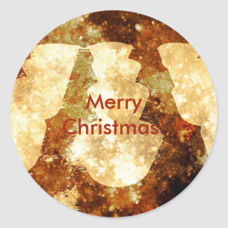 Merry Christmas Lights Starry Night Brown Gold Classic Round Sticker