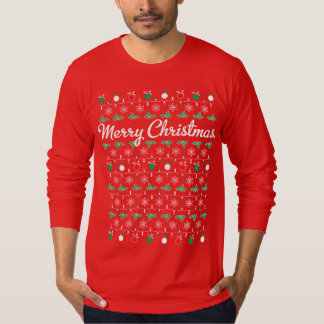 Merry Christmas Long Sleeve Red T Shirt