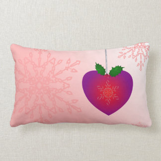 Merry Christmas Love. Romantic heart n Snowflakes Lumbar Pillow