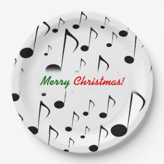"""""""Merry Christmas!"""" + Many Musical Notes Pattern Paper Plate"""